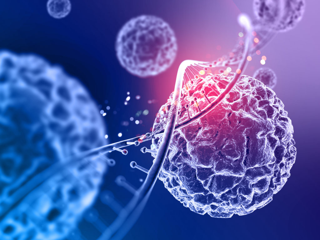 3d render of a medical background with close up of virus cells and DNA strand